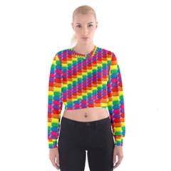 Rainbow 3d Cubes Red Orange Cropped Sweatshirt