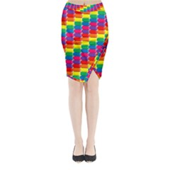 Rainbow 3d Cubes Red Orange Midi Wrap Pencil Skirt