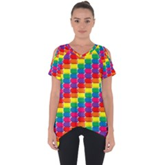 Rainbow 3d Cubes Red Orange Cut Out Side Drop Tee