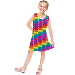 Rainbow 3d Cubes Red Orange Kids  Tunic Dress