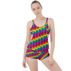 Rainbow 3d Cubes Red Orange Boyleg Tankini Set