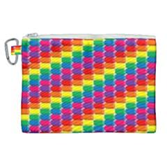 Rainbow 3d Cubes Red Orange Canvas Cosmetic Bag (xl)