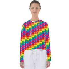 Rainbow 3d Cubes Red Orange Women s Slouchy Sweat