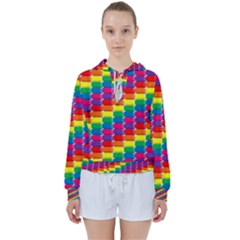 Rainbow 3d Cubes Red Orange Women s Tie Up Sweat