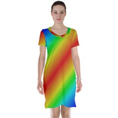 Background Diagonal Refraction Short Sleeve Nightdress