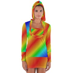 Background Diagonal Refraction Long Sleeve Hooded T Shirt