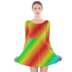 Background Diagonal Refraction Long Sleeve Velvet Skater Dress