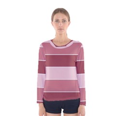 Striped Shapes Wide Stripes Horizontal Geometric Women s Long Sleeve Tee