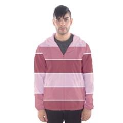 Striped Shapes Wide Stripes Horizontal Geometric Hooded Wind Breaker (men)