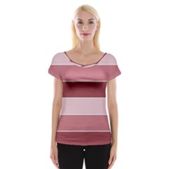 Striped Shapes Wide Stripes Horizontal Geometric Cap Sleeve Tops