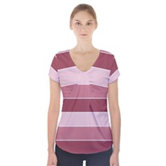 Striped Shapes Wide Stripes Horizontal Geometric Short Sleeve Front Detail Top