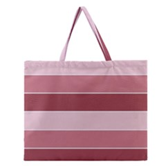Striped Shapes Wide Stripes Horizontal Geometric Zipper Large Tote Bag