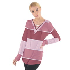 Striped Shapes Wide Stripes Horizontal Geometric Tie Up Tee