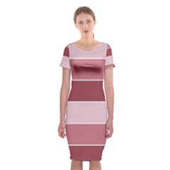 Striped Shapes Wide Stripes Horizontal Geometric Classic Short Sleeve Midi Dress by Nexatart
