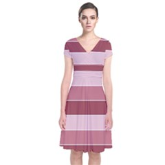 Striped Shapes Wide Stripes Horizontal Geometric Short Sleeve Front Wrap Dress