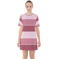 Striped Shapes Wide Stripes Horizontal Geometric Sixties Short Sleeve Mini Dress