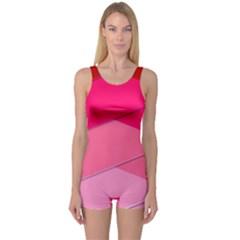 Geometric Shapes Magenta Pink Rose One Piece Boyleg Swimsuit