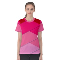Geometric Shapes Magenta Pink Rose Women s Cotton Tee
