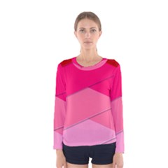Geometric Shapes Magenta Pink Rose Women s Long Sleeve Tee