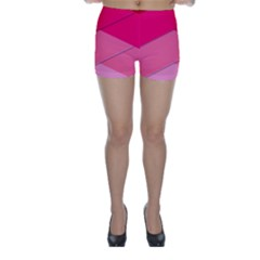 Geometric Shapes Magenta Pink Rose Skinny Shorts