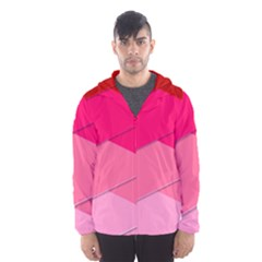 Geometric Shapes Magenta Pink Rose Hooded Wind Breaker (men)