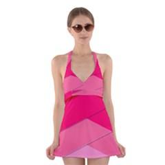 Geometric Shapes Magenta Pink Rose Halter Dress Swimsuit