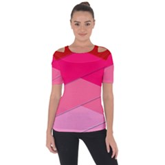 Geometric Shapes Magenta Pink Rose Short Sleeve Top