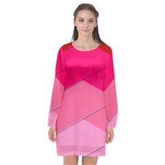 Geometric Shapes Magenta Pink Rose Long Sleeve Chiffon Shift Dress  by Nexatart