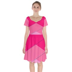Geometric Shapes Magenta Pink Rose Short Sleeve Bardot Dress