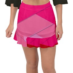 Geometric Shapes Magenta Pink Rose Fishtail Mini Chiffon Skirt