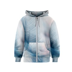 Feather Ease Slightly Blue Airy Kids  Zipper Hoodie