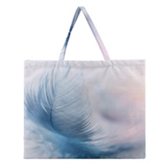 Feather Ease Slightly Blue Airy Zipper Large Tote Bag