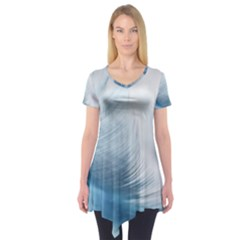 Feather Ease Slightly Blue Airy Short Sleeve Tunic
