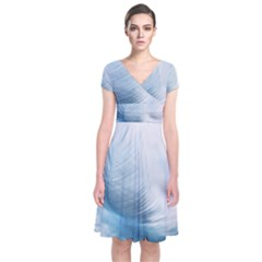 Feather Ease Slightly Blue Airy Short Sleeve Front Wrap Dress