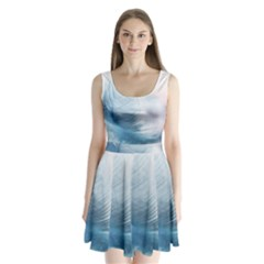 Feather Ease Slightly Blue Airy Split Back Mini Dress