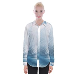 Feather Ease Slightly Blue Airy Womens Long Sleeve Shirt