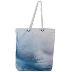 Feather Ease Slightly Blue Airy Full Print Rope Handle Tote (large) by Nexatart
