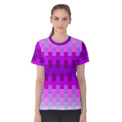 Geometric Cubes Pink Purple Blue Women s Cotton Tee