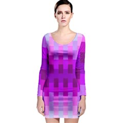 Geometric Cubes Pink Purple Blue Long Sleeve Bodycon Dress