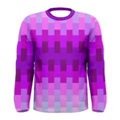 Geometric Cubes Pink Purple Blue Men s Long Sleeve Tee