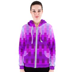 Geometric Cubes Pink Purple Blue Women s Zipper Hoodie