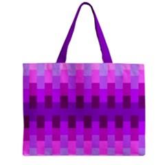 Geometric Cubes Pink Purple Blue Zipper Mini Tote Bag