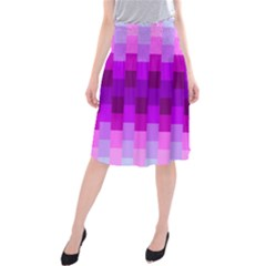 Geometric Cubes Pink Purple Blue Midi Beach Skirt