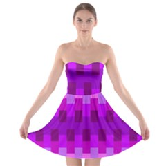 Geometric Cubes Pink Purple Blue Strapless Bra Top Dress