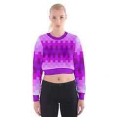 Geometric Cubes Pink Purple Blue Cropped Sweatshirt