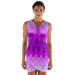 Geometric Cubes Pink Purple Blue Wrap Front Bodycon Dress