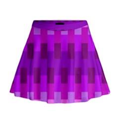 Geometric Cubes Pink Purple Blue Mini Flare Skirt