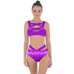 Geometric Cubes Pink Purple Blue Bandaged Up Bikini Set