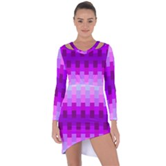 Geometric Cubes Pink Purple Blue Asymmetric Cut Out Shift Dress