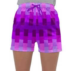 Geometric Cubes Pink Purple Blue Sleepwear Shorts